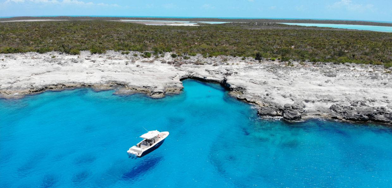 Navis Vessel Along Rocky Shore Beautiful Water