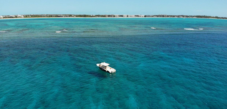 Wide Overhead View of Navis Vessel On Beautiful Water