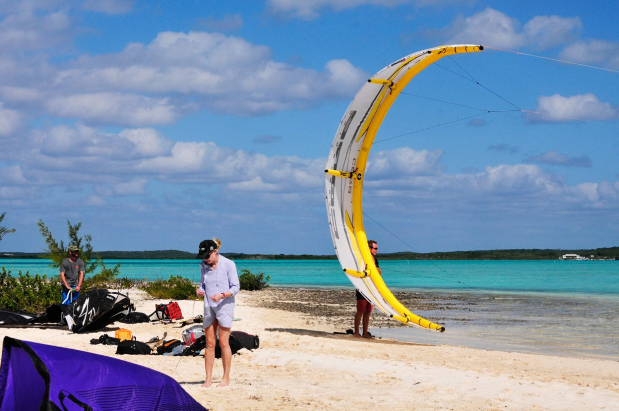 kiteboarder preparing on the beach