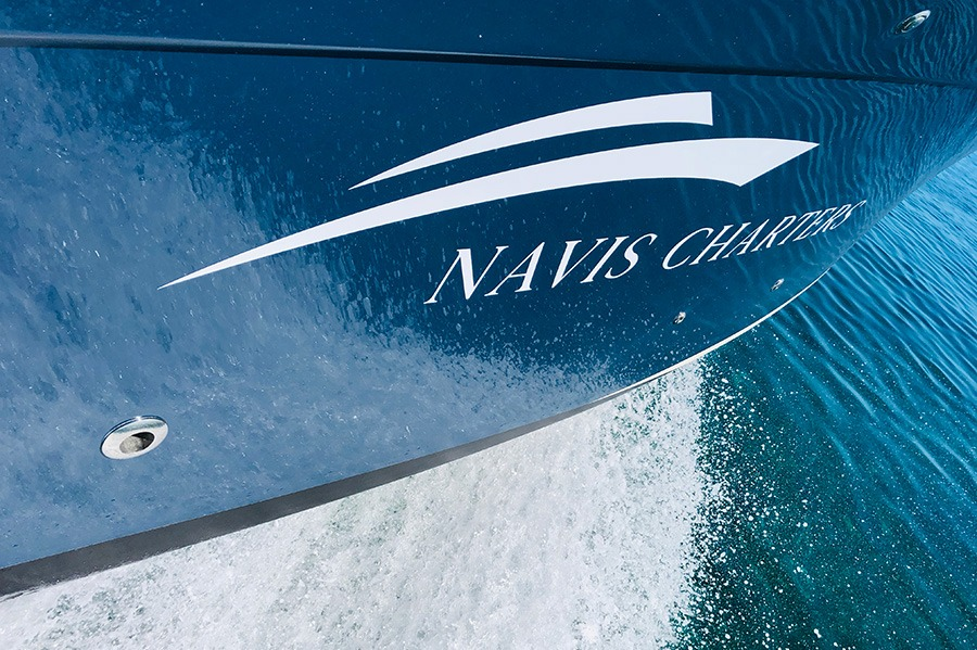 Navis Charters Logo on Vessel